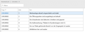 Fragebogen in Microsoft Dynamics 365 for Finance and Operations Beispiel Checkliste